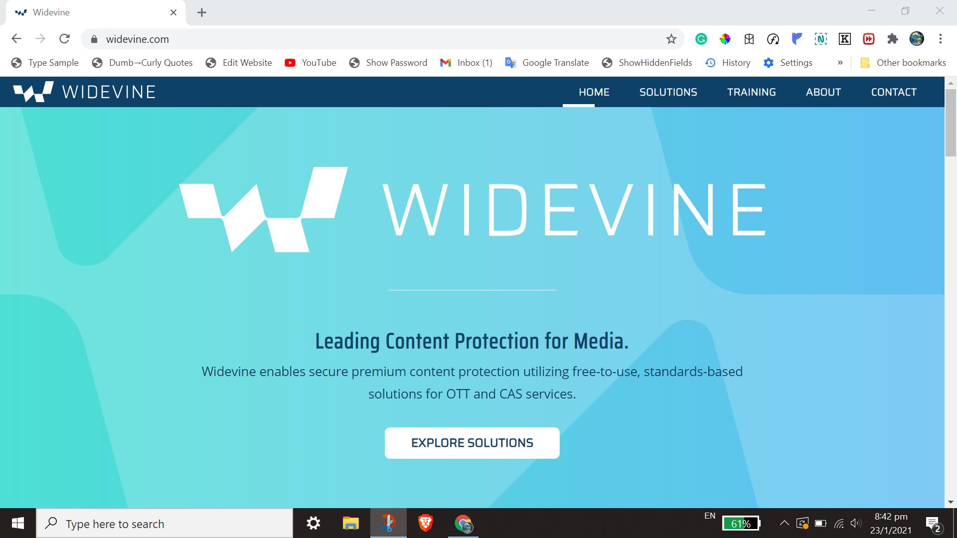 screenshot of original widevine.com website design